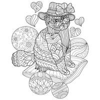 Cat and ball hand drawn for adult coloring book vector