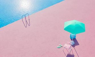 piscina con silla y sombrilla foto