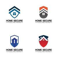 logotipo de hogar seguro, diseño de logotipo de casa inteligente, diseño de logotipo de protección del hogar vector