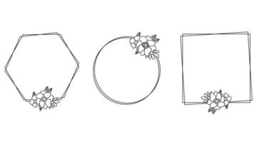 Flowers line frames doodles isolated for weddings vector