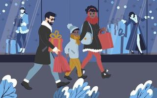 A young multicultural family shopping for gifts for Christmas holidays vector