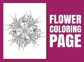 Flower coloring page for adults and children. flower coloring book. vector
