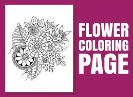 Flower coloring page. flower coloring book. vector