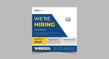 We are hiring social media posts. Recruitment social media banner. vector