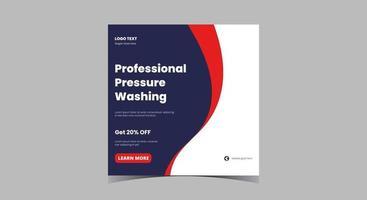 Pressure washing service social media template vector