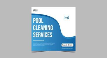 Pool cleaning service social media post vector