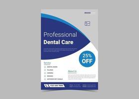 Dentist clinic screening flyer template design. vector