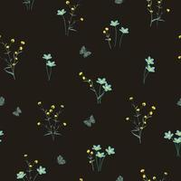 Wildflowers on yellow and soft blue tone seamless pattern vector
