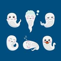 Collection of Cute Cartoon Ghosts for Halloween vector