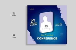 Business live webinar social media post banner template vector