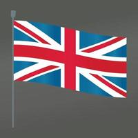 Great Britain flag and pole symbol flat vector with gradient color