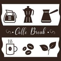 flat vector beauty art coffee maker equipment for coffee break in cafe