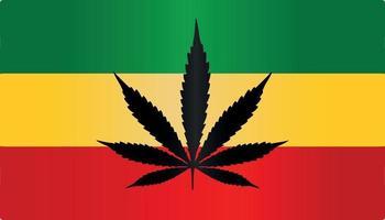rasta reggae marijuana flag symbol flat vector gradient color