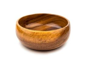 Old brown wood bowl on white background photo