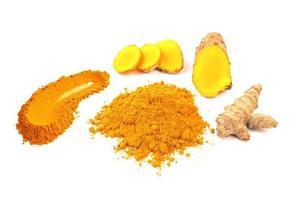 Turmeric powder and fresh turmeric photo
