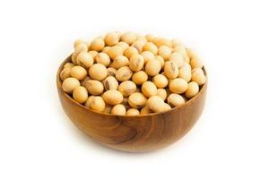 Soybeans on wooden bowl on white background photo