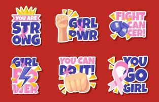 conjunto de pegatinas de concienciación sobre el cáncer de mama vector