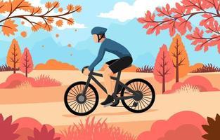 un hombre en bicicleta en otoño vector