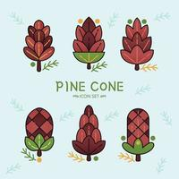 Pine Cone Icon Set vector