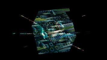 ordinateur quantique cube futuriste analyse numérique big data polygone video