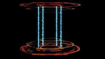 cápsula de laboratório digital com energia de raio azul video