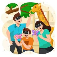 Family Excited Having Virtual Reality Zoo at Home vector