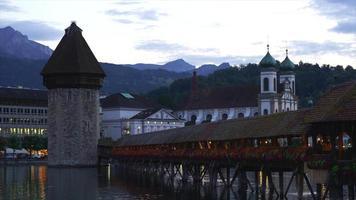 Timelapse Chapel Bridge and Water Tower in Lucern, Switzerland video