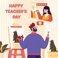 Students Gives Rating to Her Teacher Five Star vector