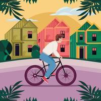 Man Rides His Bicycle in Neighborhood vector
