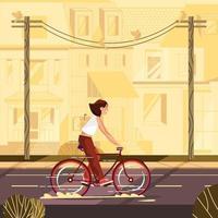 Girl Rides a Bike in Neighborhood vector
