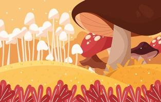 Giant Mushroom in Autumn Mystical Forest Background vector