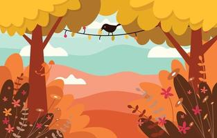 Bird Among Trees in the Autumn Forest Background vector