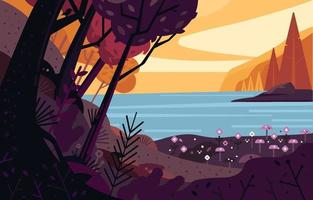 Sea View from Deep Nature Woods Background vector