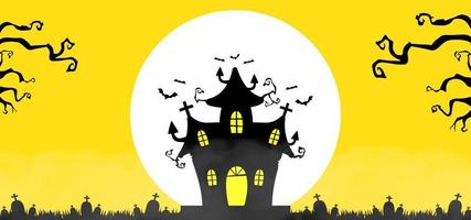 Halloween background with house and big moon view vector
