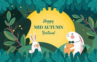 Rabbits Hold Moon Cake on Mid Autumn Festival vector