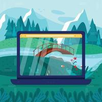 Virtual Walking in Nature with Laptop vector