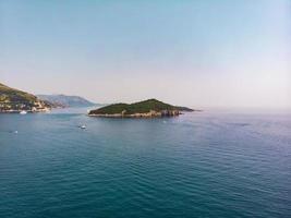 Beautiful blue sea, islands archipelago in Croatia, aerial seascape photo