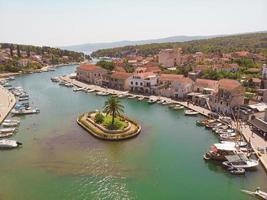 Bay and old city in the town of Vrboska on Hvar island, Croatia photo