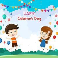 feliz dia del niño con fondo de nubes vector
