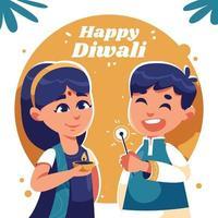 Kids Celebrating Dwali Festival vector