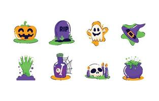 Trick or Treat Halloween Icons Set vector