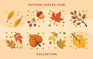 Autumn Flat Icon Leaves Collection Set vector