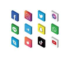 Social media icon set 3D isometric view, isolated vector illustration