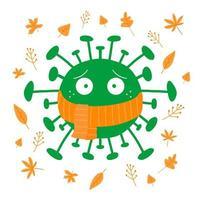 coronavirus de dibujos animados en bufanda naranja con hojas de otoño vector