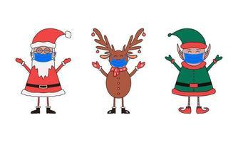Christmas characters set, Santa Claus, Elf and deer in medical masks vector