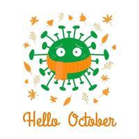 Hola octubre. coronavirus de dibujos animados en bufanda naranja con hojas de otoño vector