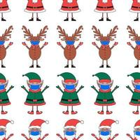 Christmas seamless pattern from Santa Claus, Elf and Deer in blue mask vector