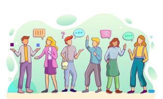grupos de personas hablando o hablándose entre sí. vector