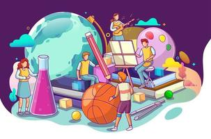 Illustration of Teachers Characters with Educational vector