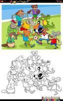 Dibujos animados de animales jugando al fútbol página de libro para colorear vector
